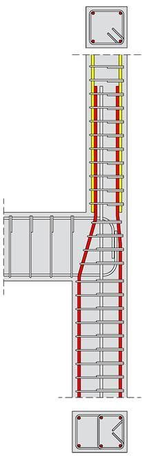 If the construction of a 'column cap' is not a desirable solution due to reasons like e. the need for a flat roof, then the column rebars of the upper floor can be anchored according to one of the existing ways. Civil Engineering Design, Civil Engineering Construction, Concrete Structure, Building Structure, Detail Architecture, Hotel Floor Plan, Framing Construction, Casas Containers, Concrete Building