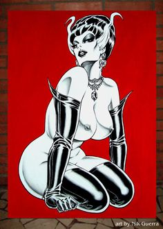 Nik Guerra Original Acrylic Art Painting / Madame FRANKENSTEIN / Sexy tasteful Pinup vixen in black rubber stockings, opera gloves, big hair