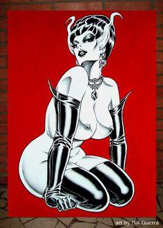 Nik Guerra Original Acrylic Art Painting / Madame FRANKENSTEIN / Sexy tasteful Pinup vixen in black rubber stockings, opera gloves, big hair