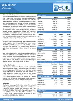 Epic research special report of 12 april 2016  Epic Research is having good experience in market research which is very essential in trading. The advisors are highly skilled and they do fundamental and technical analysis effectively which is very important.