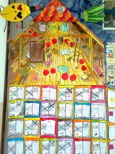 Čtenářská mapa - Půda - Za přečtenou knihu získávají děti body.  do 100 stran 1B do 200 stran 2B Uděluji i půl body - rozhoduje počet ilustrací a velikost písma (děti hlasují) Přejdou-li významný obrázek na mapě, dostanou pochvalu do notýsku a sladkost. Cíl = nová kniha Body se zapisují do políček pod mapou a zároveň se posouvá praporek na mapě.