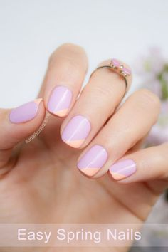 Baby blues, pale pinks, and soft oranges were a must in the early spring. Get the tutorial from So Nailicious Orange Nail Designs, Easter Nail Designs, Easter Nail Art, Cute Nail Designs, Baby Blue Nails, Lilac Nails, Nude Nails, Gel Nails, Nail Problems