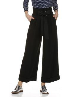 Pantalon large à plis et revers Noir by TARA JARMON