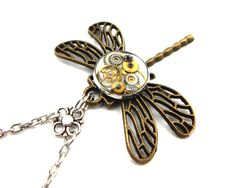 Clockwork Dragonfly Necklace  Rustic Steampunk by SteamSect