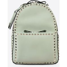 Valentino Garavani Rockstud Medium Backpack ($2,275) ❤ liked on Polyvore featuring bags, backpacks, light green, studded backpack, leather backpack, day pack backpack, green leather bag and genuine leather backpack