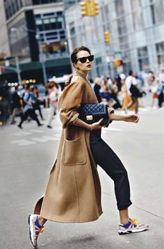Camel coat and sneakers #fashion #trend
