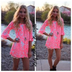 One Last Time Neon PINK & CREAM TUNIC Price: $35.00, Free Shipping Available @ https://instagram.com/ladycherokeeboutique