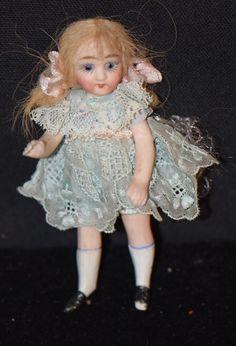 Antique Doll Miniature Mignonette Bisque Dollhouse Swivel French Market