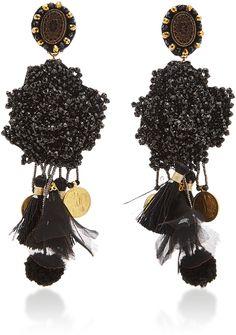Ranjana Khan Black Crystal Earrings