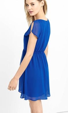 Blue Deep V-neck Soft Chiffon Dress | Express