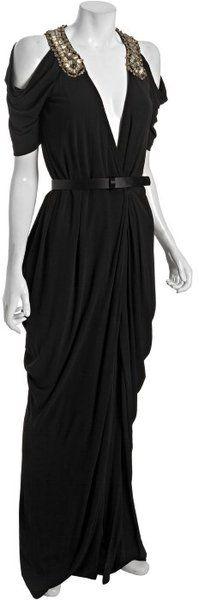 ALEXANDER MCQUEEN Draped Jersey Embellished Cutout Shoulder Dress - Lyst