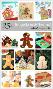 All kinds of gingerbread-themed crafts, activities, and sensory play ideas for kids! (25+ Gingerbread Activities for Kids)