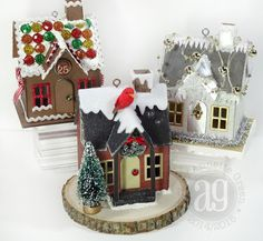 Create cute ornaments with the Village Dwelling die by Tim Holtz combined with his Village Winter die. So fun and addictive!