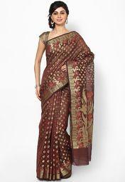 Organza Cotton Check Multi Banarasi Maroon Saree