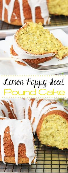 Lemon Poppy Seed Pound Cake - lemon cake mix, lemon pudding mix, and only one bowl needed! Such a bright color and lemon flavor, perfect for spring brunch and parties!