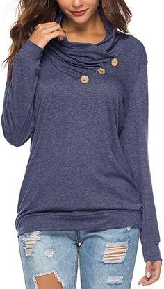 KISSMODA Womens T-Shirt Long Sleeve Sweatshirt Solid Color Casual Blouses Tops Hoodie Sweatshirts, Long Sleeve Tops, Long Sleeve Shirts, Loose Fitting Tops, Casual T Shirts, Women's Casual, Cool Hoodies, Tunic Tops, Tunic Blouse