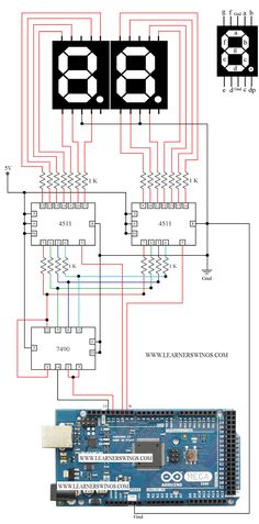 Funny Electronics: Circuit for Two Seven Segment Displays, Arduino Mega + 7490 + 4511 (Part 1 of 9)