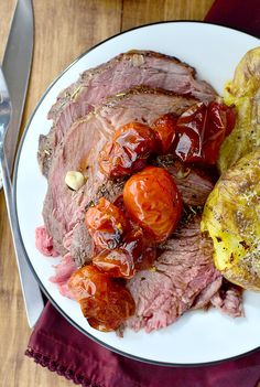 Easiest 1-Hour Roast Beef can be used for French Dip Sandwiches with au jus sauce, or on it's own with roasted tomatoes and smashed potatoes. Roast beef is so much easier than you think! | iowagirleats.com