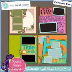 Stacked Templates 12x12 Set 5 by Digital Gator Designs #digitalscrapbook #scrapbooking #PDW #plaindigitalwrapper #templates #DGD #digitalgatordesigns #pagemap