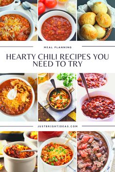 These quick and easy chili recipes are healthy and kid friendly too. They're perfect for lazy winter evenings or tailgating! Hearty Chili Recipe, Chili Recipes, Easy Recipes, Easy Meals, Tailgating, Chana Masala, Thanksgiving Recipes, Lazy, Meal Planning