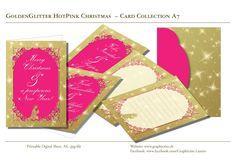 Golden Glitter Hot Pink - Printable Digital Sheets - Card Collection for DIY printing - A7! Download the .zip file! Diy Printing, Golden Glitter, Design Studio, Grafik Design, Paper Design, Cardmaking, Stationary, Hot Pink, Christmas Cards