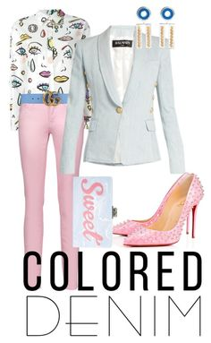 """Colored denim"" by styleociety on Polyvore featuring мода, Boutique Moschino, Just Cavalli, Gucci, Balmain, Christian Louboutin, A. Carnevale и Edie Parker"