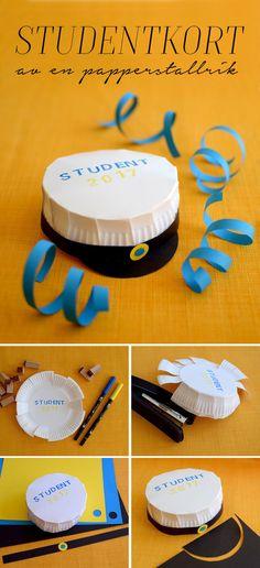 Pyssel DIY   Gör ett kort till studenten av en papperstallrik - Helena Lyth
