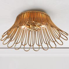 Golden Petals Basket Ceiling Light - Large