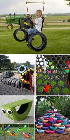 Recycled tire play equipment reuse old tires, play equipment, recycling, sp Playground Swing Set, Backyard Playground, Backyard Games, Playground Ideas, Pallet Playground, Kids Outdoor Play, Outdoor Play Areas, Backyard For Kids, Do It Yourself Garten