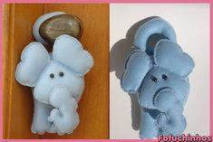 Elefante de maçaneta. Confeccionado em feltro. Feito totalmente a mão. Ótima opção de decoração... Contato para dúvidas e orçamentos... fofuchinhos@r7.com