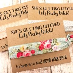 Bachelorette Hair Tie Party Favors | She's Getting Hitched | To Have And To Hold | 1 Hair Tie on Card