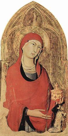María Magdalena, obra de Simone Martini, realizado en el año 1321, detalle del retablo del Altar Mayor, Orvieto, Italia.
