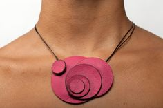 Nube Leather Necklace  Pink by estudioiris on Etsy, $40.00