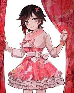 Ruby Rose in a Cherry Kimono-style skirt Lolis Anime, Rwby Anime, Chica Anime Manga, Anime Art, Rwby Fanart, Character Art, Character Design, Rwby Characters, Female Characters