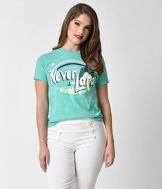 The Lost Bros Mint Green Greetings From Neverland Short Sleeve Stretch Cotton Unisex Tee Summer Outfits, Casual Outfits, Casual Clothes, Disney Dress Up, Graphic Tee Outfits, Classic Looks, Clothes For Sale, Cotton Tee, T Shirts For Women