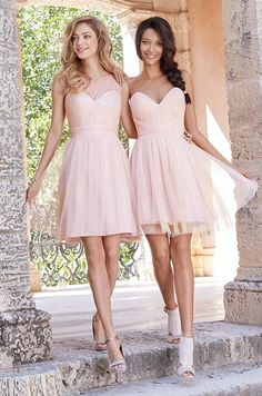 2015 Short Tulle Bridesmaid Dresses Knee Length Bridesmaids Dress Cheap Pink Bridesmaid Gowns Under 100 One-shoulder Custom Made SX377, $62.83 | DHgate.com