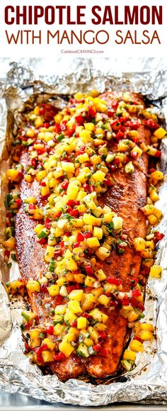 Chipotle Salmon with Mango Salsa is easy, healthy and on your table in just over 30 minutes! via Chipotle Salmon with Mango Salsa is easy, healthy and on your table in just over 30 minutes! via This Easy Salmon Patty rec. Baked Salmon Recipes, Fish Recipes, Seafood Recipes, Fresh Salmon Recipes, Mango Salsa Recipes, Recipes With Mango, Mango Recipes For Dinner, Salmon With Salsa Recipe, Healthy Dinner Recipes
