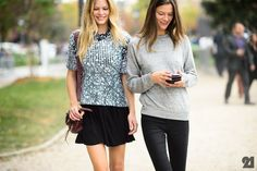 double trouble. #AnnaEwers & #KasiaStruss #offduty in Paris.