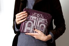 London House    Screen printed pattern on the front in white.  Made of 100% natural cotton fabric in Dark Plum colour.
