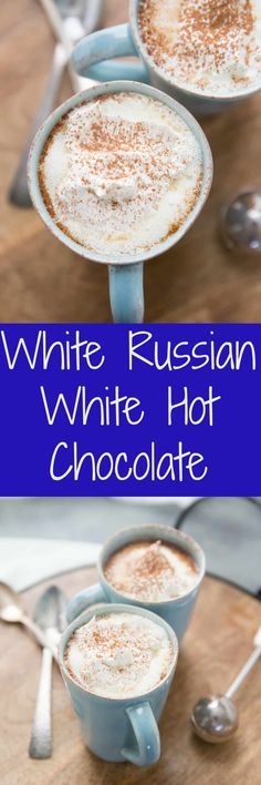 This White Hot Chocolate is a boozy, warm, sweet version of the White Russian co. This White Hot Chocolate is a boozy, warm, sweet version of the White Russian cocktail. It will keep you feeling warm and cozy down to the last drop! Holiday Drinks, Party Drinks, Fun Drinks, Yummy Drinks, Holiday Recipes, Kahlua Drinks, Beverages, Cocktails, Mixed Drinks