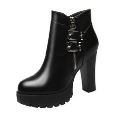 Passionow Women's Comfort Warm Faux Fur Lined Platform High Top Block Heel Ankle Booties *** Find out more details by clicking the image : Desert boots