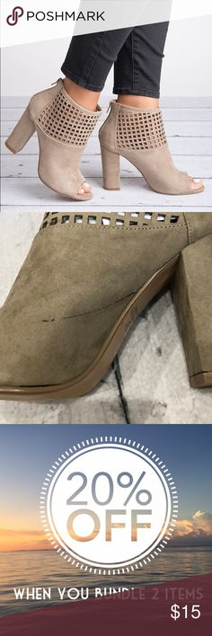 """Taupe Lamb open toe Booties Brand new in the box. Small defects includea scratches on one shoe as seen in picture. Peep toe. Zips up the back. Heel is 4"""" WINDSOR Shoes Ankle Boots & Booties"""