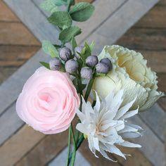 Katie Bouquet: Quintet of Crepe Paper Flowers {Vanilla Peony, Blush Ranunculus, Water Lily, Gray Berries, Eucalyptus}