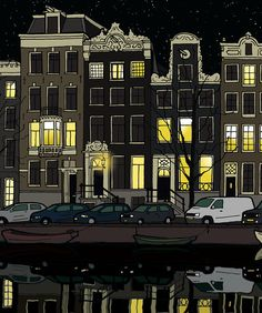 Illustration of the Singel in Amsterdam Holland - Art Print - Wall Art