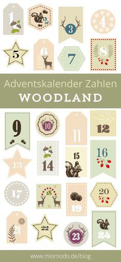 DIY Adventskalender Zahlen Waldtiere pdf
