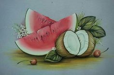 Uma terapia para olhos  Uma terapia para olhos Watercolor Fruit, Fruit Painting, Tole Painting, Fabric Painting, Acrylic Paintings, Fruits Drawing, Fabric Paint Designs, Butterfly Cross Stitch, Colored Pencil Artwork