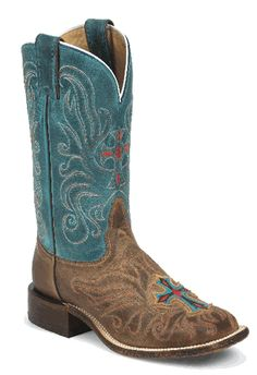 Ladies Brown Square Toe Tony Lama Boot.