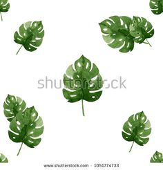 watercolor tropical leaf pattern for cover book, fashion and art