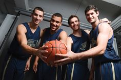 Mikic, Larsen, Maragkos and Garino pose together for the GW Hatch article on our international players #RaiseHigh #GW