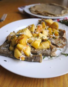 Buckwheat Crepes with Caramelized Apples, Gouda and Fresh Thyme. This sweet and savory crepe recipe is gluten-free.